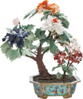 Asian:Chinese, A CHINESE HARDSTONE TREE IN CLOISONNÉ BASE. 20 x 17-1/2 x 12 inches(50.8 x 44.5 x 30.5 cm). ...