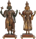 Asian:Other, A PAIR OF ORIENTAL CARVED WOOD AND PAINTED FIGURES ON BRONZE BASES.12-1/4 inches high (31.1 cm). ... (Total: 2 Items)