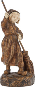 Bronze:American, A FRENCH GILT BRONZE AND IVORY FIGURE, after George Omerth, early20th century. Marks: OMERTH. 6-1/4 inches high (15.9 c...