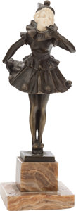 Bronze:European, AN AUSTRIAN PATINATED BRONZE AND IVORY FIGURE ON ALABASTER BASE,After Titze, Austria, early 20th century. Marks: TiTze...