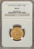 Turkey: Abdul Hamid II gold 100 Kurush AH1293//22 MS62 NGC