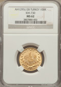 Turkey: Abdul Hamid II gold 100 Kurush AH1293//28 MS62 NGC