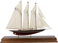 Maritime:Decorative Art, SHIP MODEL OF 'THE ATLANTIC'. A fine model, fully rigged, in aglass, metal and wood case.. 20th century. 27-3/4 x 32-1/2 x ...