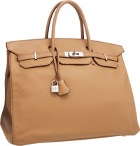 Hermes 40cm Tabac Camel Clemence Leather Birkin Bag with Palladium Hardware Very Good Condition 1