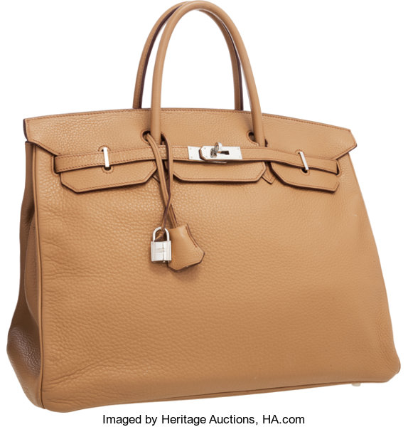 6be48f1f5f Hermes 40cm Tabac Camel Clemence Leather Birkin Bag with