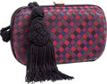 "Luxury Accessories:Bags, Bottega Veneta Black & Multicolor Intrecciato Satin Clutch Bagwith Tassel. Very Good to Excellent Condition. 6.5""Wid..."