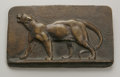 Fine Art - Sculpture, European:Antique (Pre 1900), Antoine-Louis Barye (French, 1795-1875). Lioness. Bronze plaque.3.25in. x 5.5in. x .5in.. Inscribed right...