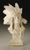 Fine Art - Sculpture, American:Modern (1900 - 1949), Charles Henry Humphriss (American, 1867-1934). Indian Chief WithFeathered Headdress. Plaster. 10.5in. x 6.5in. x 6in.. Sign...