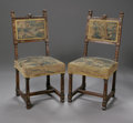 Furniture: French, A pair of Renaissance Revival Style Side Chairs. French, NineteenthCenturyA pair of French Renaissance revival carved walnu...