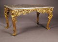 Furniture: French, A Nineteenth Century Italian Gilt Center Table. Rococo styleintricately carved gilt wood center table with pink and grey ...