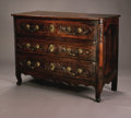 Furniture, An Eighteenth Century Provincial French Commode. Richly patinated walnut three drawer commode with serpentine front on cab... (Total: 1 Item Item)