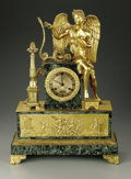 Paintings: , A Nineteenth Century Mantle Clock. Gravet, Paris (Movement)The mantle clock of green marble with gilt bronze figure of Diana...