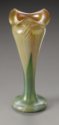 Art Glass:Other , An American Glass Vase. Quezal, c.1900. The 'pulled feather'pattern vase, marked underside Quezal. 8.4in. high. P...