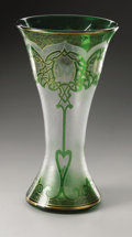 Art Glass:Other , An American Glass Vase. Honesdale, c.1900. The clear frosted vasewith fire-polished green design and gilt highlights,...