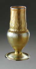 Art Glass:Tiffany , An American Glass Vase. Tiffany Studios, Early Twentieth Century.The 'Favrile' gilt iridescent pedestal vase, marked ...