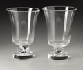 Art Glass:Steuben, A Pair of American Crystal Vases. Steuben, 20th Century. Thetapering bodies with twisted necks on round bases, inscri...(Total: 2 Items)