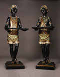 Furniture : Continental, Large Pair Nineteenth Century Venetian Blackamoors. expertly carvedand brilliantly painted male and female standing figur... (Total: 4Items)