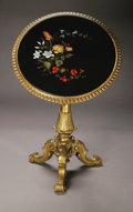 Furniture : Continental, A Fine Nineteenth Century Florentine Pietre Dure Tilt-top Table. circular pietre dure table top of inlaid marble and semi-...