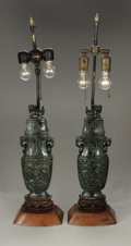 Decorative Arts, Continental:Other , A Pair of Carved Jade Covered Vases, Mounted as Lamps. Chinese,Twentieth Century. A pair of carved spinach jade archa... (Total: 2Items)