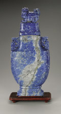 Decorative Arts, Continental:Other , A Carved Lapis Lazuli Covered Vase. Chinese,Twentieth Century. Alarge carved lapis lazuli archaistic covered vase car...