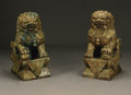 Decorative Arts, Continental:Other , A Pair of Carved Jade Foo Lions. Chinese, Twentieth Century. A pairof carved jade foo lions with snail curl manes and... (Total: 2Items)