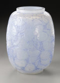 Art Glass:Lalique, A French Glass Vase. R. Lalique, 1914. The vase in the 'Monnaie duPape' pattern, blue patination, marked underside ...