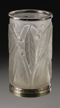 Art Glass:Lalique, A French Glass Vase. R. Lalique, 1922. The frosted glass vase inthe 'Laurier' pattern, silvered metal mounts to the t...