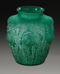 Art Glass:Lalique, A French Emerald Glass Vase. R.Lalique, 1926. In the 'Doméry'pattern depicting flowers with raised bulbs, etched scri...