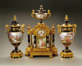 Timepieces:Clocks, A Sevres-Style Porcelain And Gilt Bronze Clock Set. Paris, France,late nineteenth/early twentieth centuryA three piece Fren...