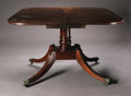 Furniture , A Georgian Single Pillar Dining Table. English, Eighteenth Century. A mahogany extending dining table with original leaf, ...
