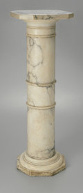 Furniture : American, A Marble Pedestal. Twentieth Century. veined white marble pedestalwith banded columnar shaft, octagonal base with oct...