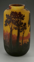 Art Glass:Muller, A French Glass Vase. Muller Fres, c.1900. The scenic cameo glassvase in a yellow ground, marked on the side Muller ...