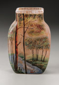 Art Glass:Legras, A French Glass Vase. Legras, c.1900. In a mottled pink ground withan enameled forest scene, enamel signature to the s...