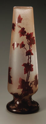 A French Glass Vase Legras, Early Twentieth Century  The frosted vase overlaid in red enamel depicting leaves, raised