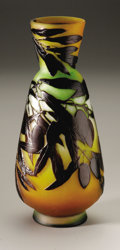 Art Glass:Galle, A French Glass Vase. Emile Galle, c.1900. The vase in a ground ofburnt orange, clear and green, overlaid in brown and etc...