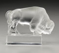 Art Glass:Lalique, A French Glass Bison. R. Lalique, 1931. The clear and frosted'Bison,' marked on the side R. LALIQUE/FRANCE. 3.8in...