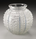 Art Glass:Lalique, A French Glass Vase. R. Lalique, 1935. In the 'Oursin' pattern ofraised frosted dots with blue patinated stripes, unm...