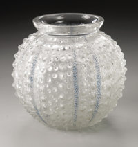 A French Glass Vase R. Lalique, 1935  In the 'Oursin' pattern of raised frosted dots with blue patinated stripes, unm