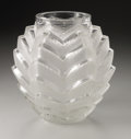 Art Glass:Lalique, A French Glass Vase. R. Lalique, 1935. The frosted and clear vasein the 'Soustons' pattern, marked underside R. LAL...