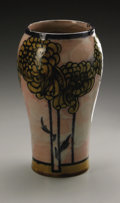 Ceramics & Porcelain, British:Modern  (1900 1949)  , An English Pottery Vase. Doulton & Co., 1939. The mottled greyground vase with stylized yellow flowers, impressed mar...