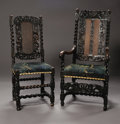 Furniture, Two William & Mary Chairs. English, Late Seventeenth CenturyA William & Mary carved walnut and cane armchair with tapestry u... (Total: 2 Items Item)