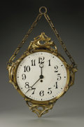 Decorative Arts, Continental:Other , A French Paris Metro Clock Hector Guimard, c.1900 The brass finishover copper Paris Metro clock with applied Art Nouvea...