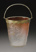 Art Glass:Daum, A French Glass Ice Bucket. Daum, First Quarter of 20th Century.With silver bail handled mount over a tapering body of...