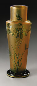 Art Glass:Other , A French Glass Vase. Marked Daum Nancy, Twentieth Century. Thefrosted amber body with green cameo flowers and foot, g...