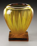 Art Glass:Other , A French Glass Vase. Verlys, 1930. The tapering amber body withstylized foliate reserves with frosted and textured fa...