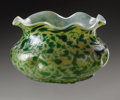 Art Glass:Loetz, An Austrian Glass Bowl. Loetz, c.1900. The mottled green andopalescent ground, dimples to the side, unsigned. 4.7in. ...