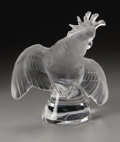 Art Glass:Lalique, A French Glass Sculpture. Lalique, 20th Century. The twistingcockatoo of frosted glass atop a tapering clear glass ba...