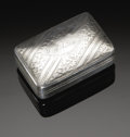 Silver Smalls:Snuff Boxes, An English Silver Snuff Box. John Shaw, Birmingham, England, 1816.The engraved patterned snuff box with A Adam to...
