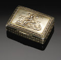 Silver Smalls:Snuff Boxes, An English Silver Snuff Box. Joseph Willmore, Birmingham, England,1816. The gilt silver snuff box with a pastoral scene o...