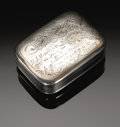 Silver Smalls:Snuff Boxes, An American Silver Snuff Box. Wood & Hughes, New York, NY, LateNineteenth Century. The engraved commemorative snuff box, ...